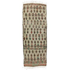 Boho Chic Vintage Berber Moroccan Azilal Runner with Modern Tribal Design