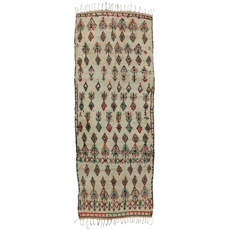 Boho Chic Vintage Berber Moroccan Azilal Runner with Modern Tribal Design