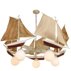 American Five-Light Sailboat Form Chandelier