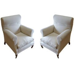 19th Century of Pair Reupholstered Club Chairs, England