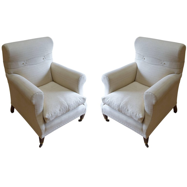 19th century of pair reupholstered club chairs england for Reupholstered furniture for sale