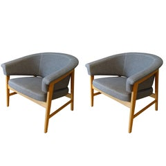 Swedish Upholstered Pair of Side Chairs, Mid-Century