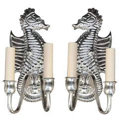 Pair of Silver Plated Sea Horse Sconces