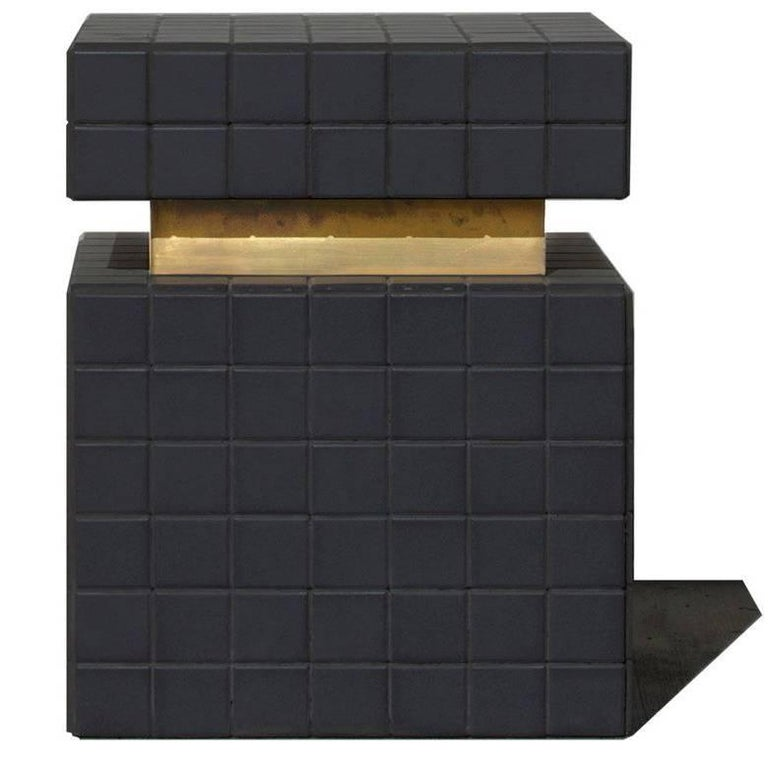 BT I Tiled Side Table in Ceramic and Brass by Nima Abili