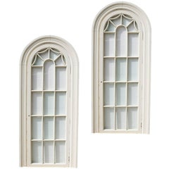 Pair of Painted Georgian Style Glazed Niche/ Alcove Frames