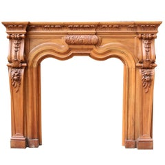 Early 20th Century Carved Walnut Fire Surround