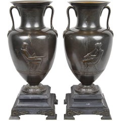 Pair of 19th Century French Bronze Neoclassical Urns