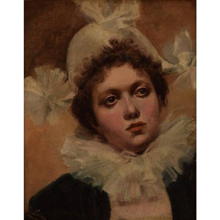 "L. Lebeo, French Artist, ""La Femme Pierrot"" Late 19th Century, Oil on Canvas"