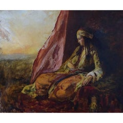 H. Smith, English Orientalist, Harem's Woman in Landscape, Late 19th Century