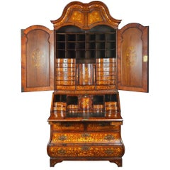 18th Century Dutch Marquetry Bureau Bookcase