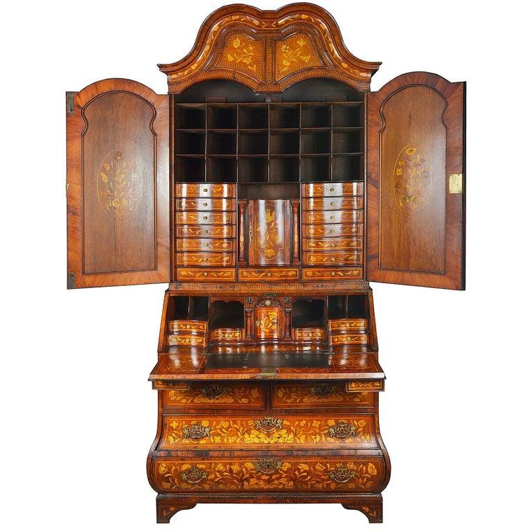 18th Century Dutch Marquetry Bureau Bookcase For Sale
