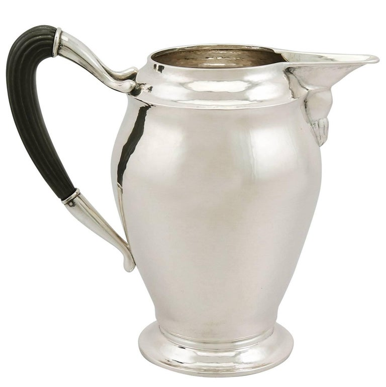 1920s Danish Silver Water Jug- Art Nouveau Style For Sale