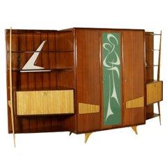 Cabinet Mahogany Veneered Wood Retro Glass Treated Vintage, Italy, 1950s