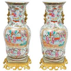 Pair of 19th Century Rose Medallion Vases on Ormolu Bases
