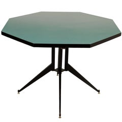 Table Metal Wood Formica Vintage Manufactured in Italy, 1950s-1960s