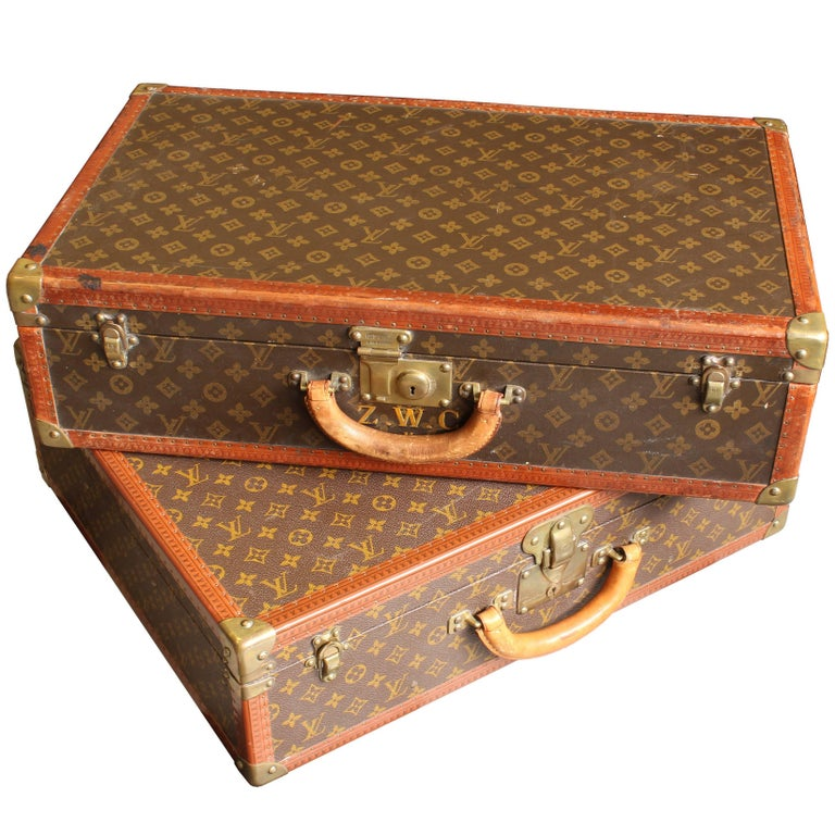 Set of Vintage Louis Vuitton Suitcases, Leather and Brass, Unmatched