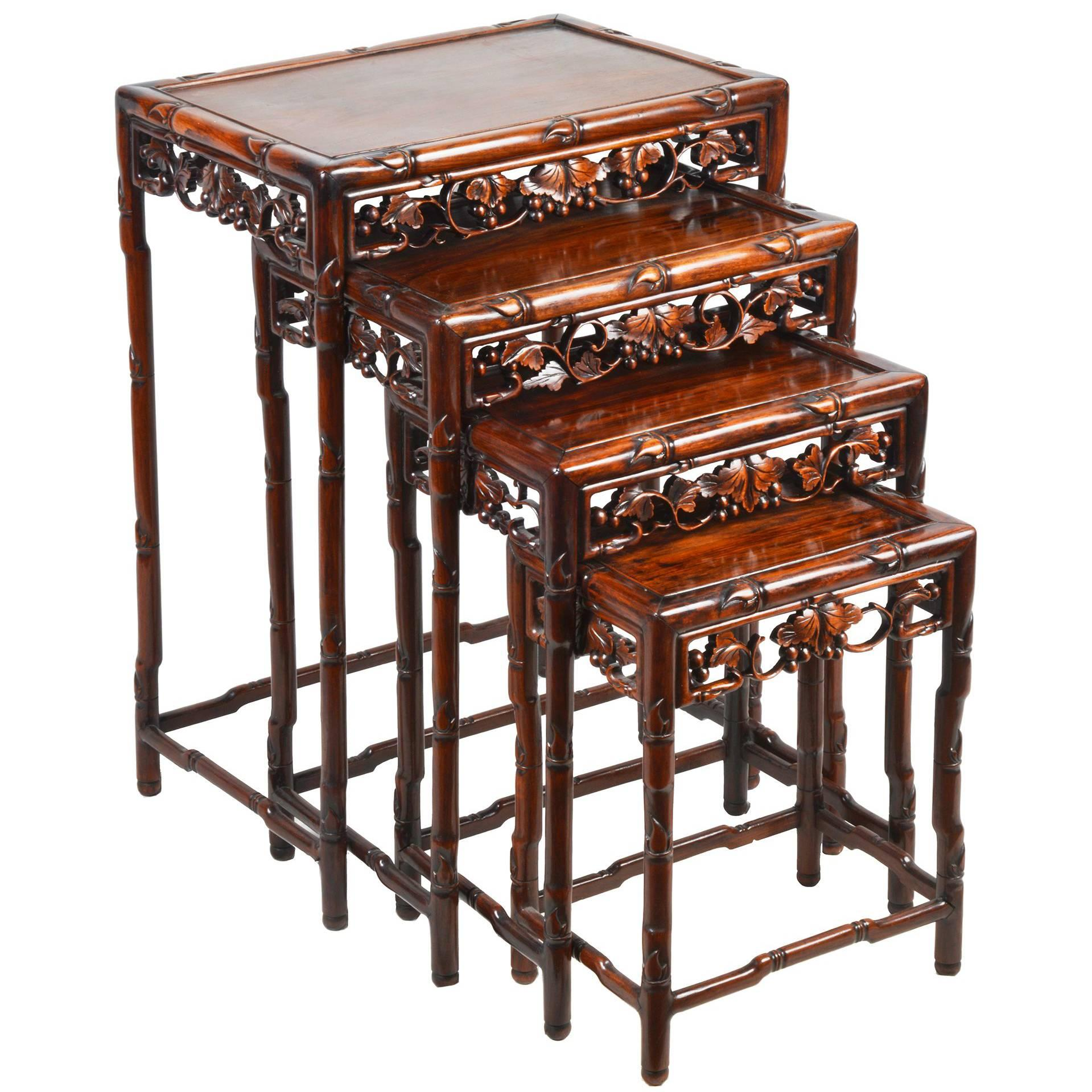 Genial Nest Of Four Chinese Hardwood Tables, 19th Century For Sale