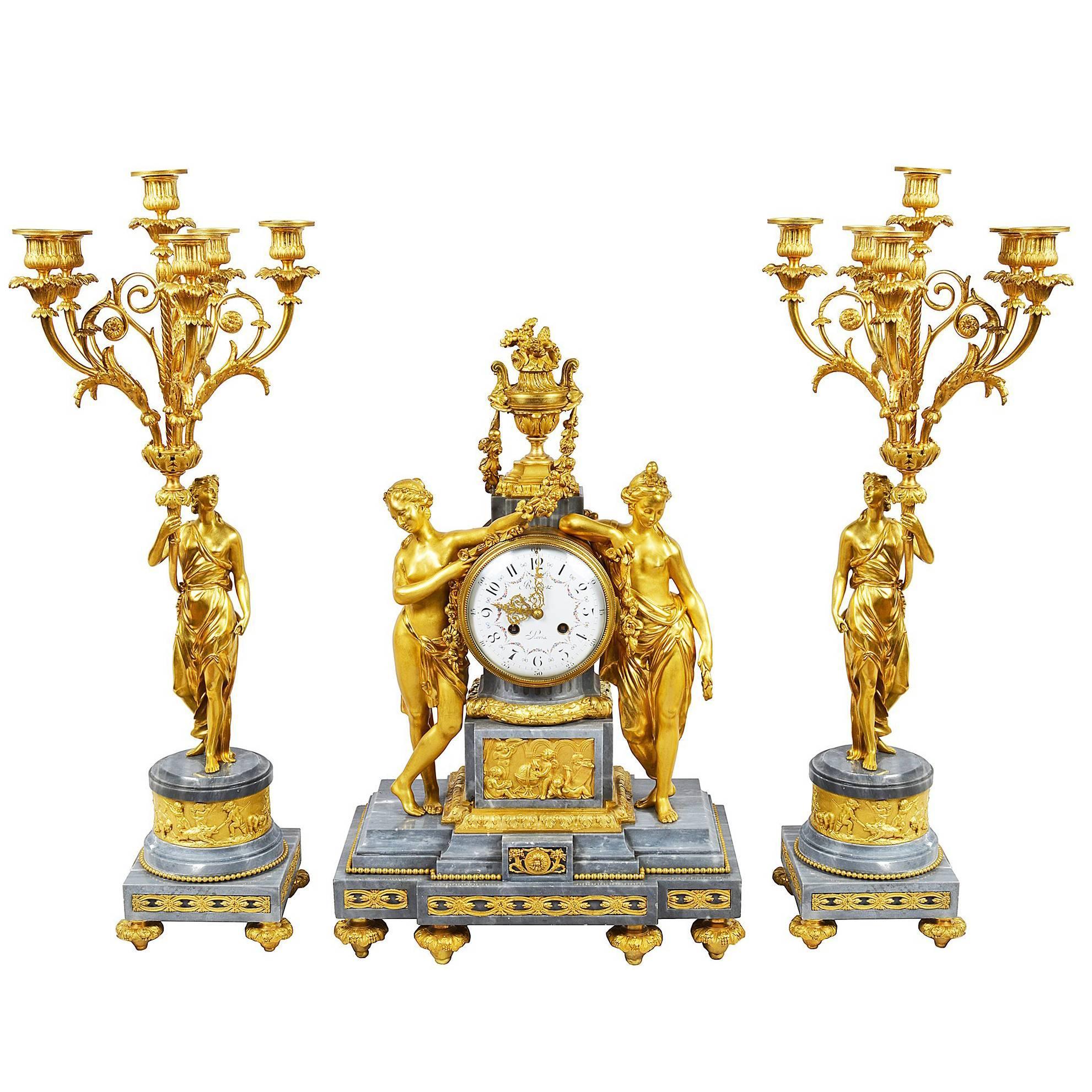 French Louis XVI Style Gilded Clock Set, 19th Century