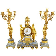 French Louis XVI Style Gilded Clock Set, 19th Century