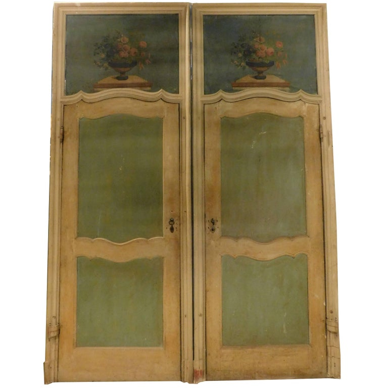 Antique Lacquered Doors with Painting on the Top