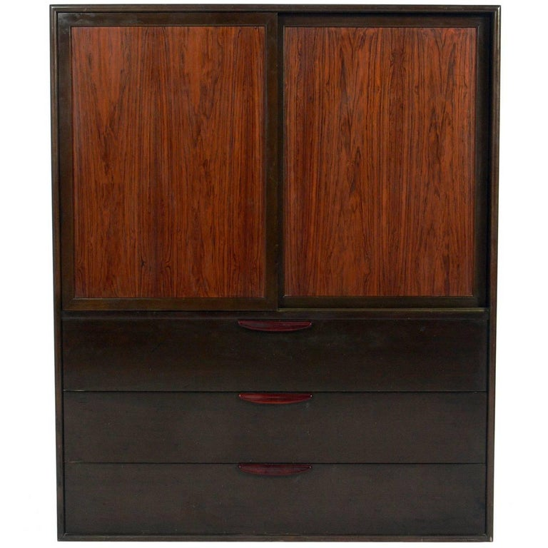 Tall Rosewood Chest of Drawers Designed by Harvey Probber