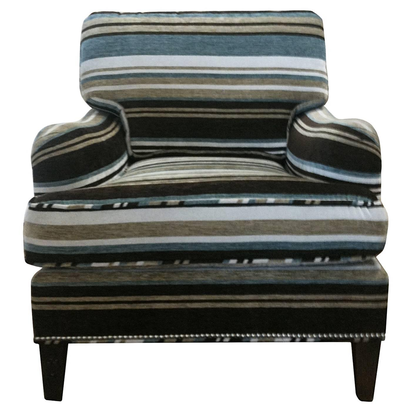 Art Deco Lounge Chair with Mohair Upholstery