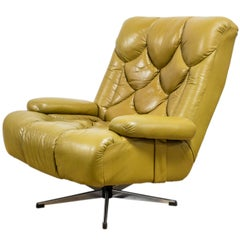 G Plan 6250 Leather Swivel Wing Chair For Sale At 1stdibs