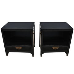 Pair of Ebonized Chin Hua Mid-Century Nightstands by Century