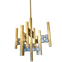 Brushed Brass and Silver Chandelier, Italy, 1970s