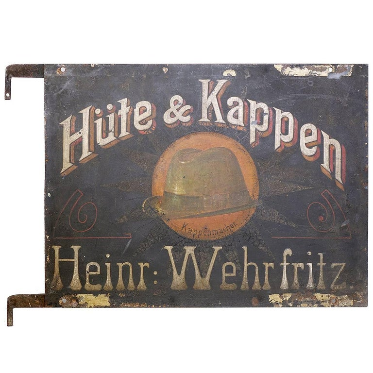 Early German Hand-Painted Hat Maker Sign 1