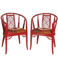 Pair of Red Chinoiserie Chairs