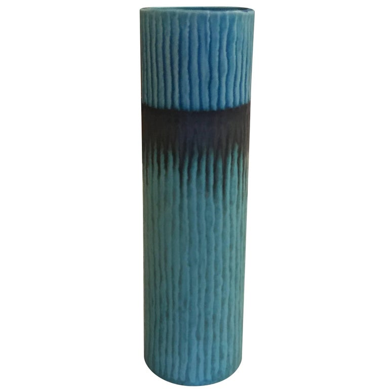 Vintage Inspired Shades of Blue Vase, Thailand, Contemporary For Sale