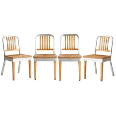 Set of four Shaw Walker Maple and Aluminum Side Chairs, circa 1940s