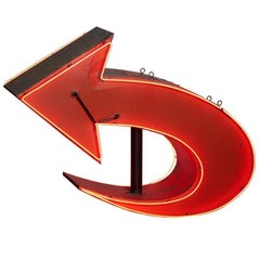 Enormous Double-Sided Red Neon Arrow Sign