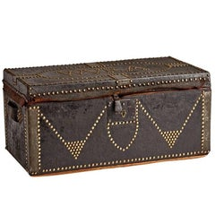 Leather-Clad Trunk with Nailhead Decoration, circa 1910
