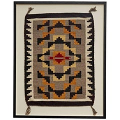 Framed Small Navajo Weaving with Sawtooth Motif, circa 1920s