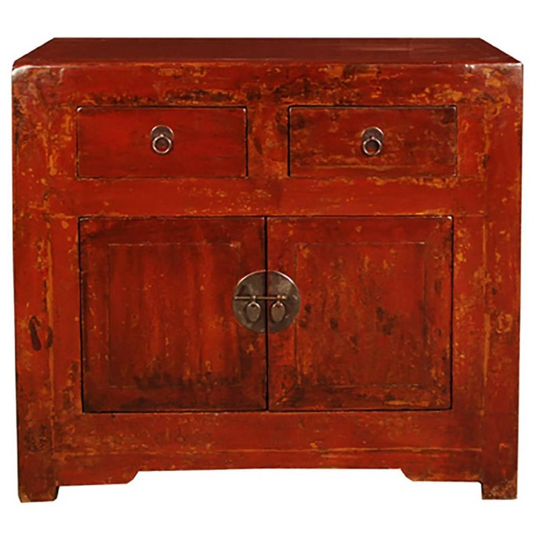 Chinese Two-Door Two-Drawer Red Lacquer Chest