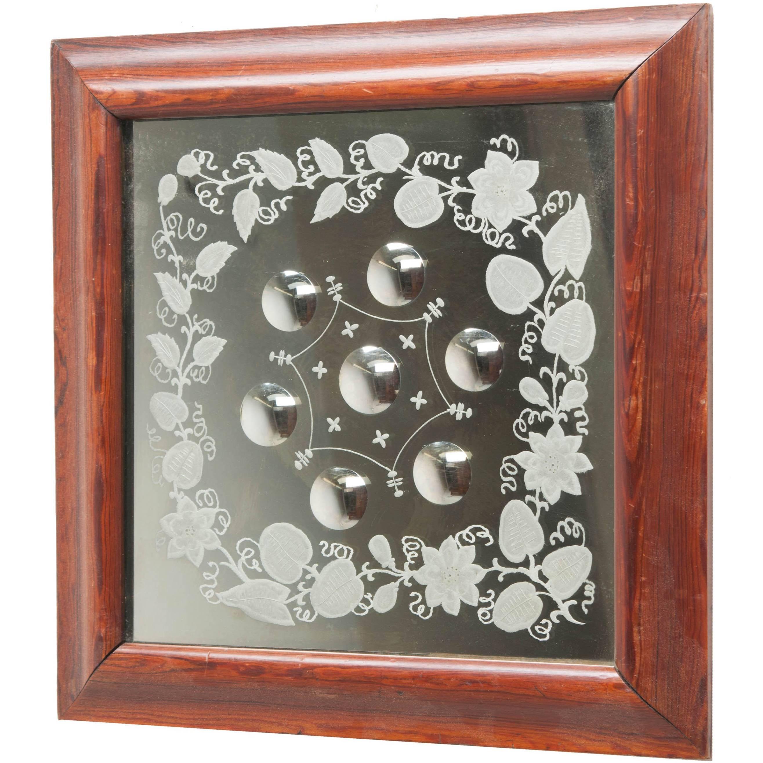 English, 19th Century, Square Framed Bullseye Mirror