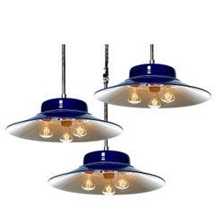 Desirable Cobalt Blue Three-Bulb Benjamin Pendents