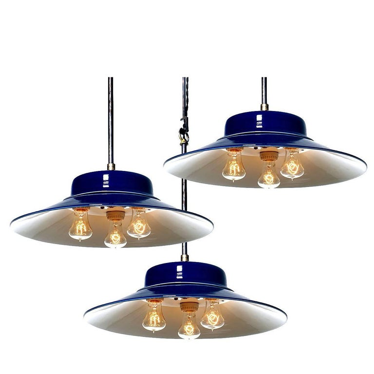 Desirable Cobalt Blue Three-Bulb Benjamin Pendents For Sale
