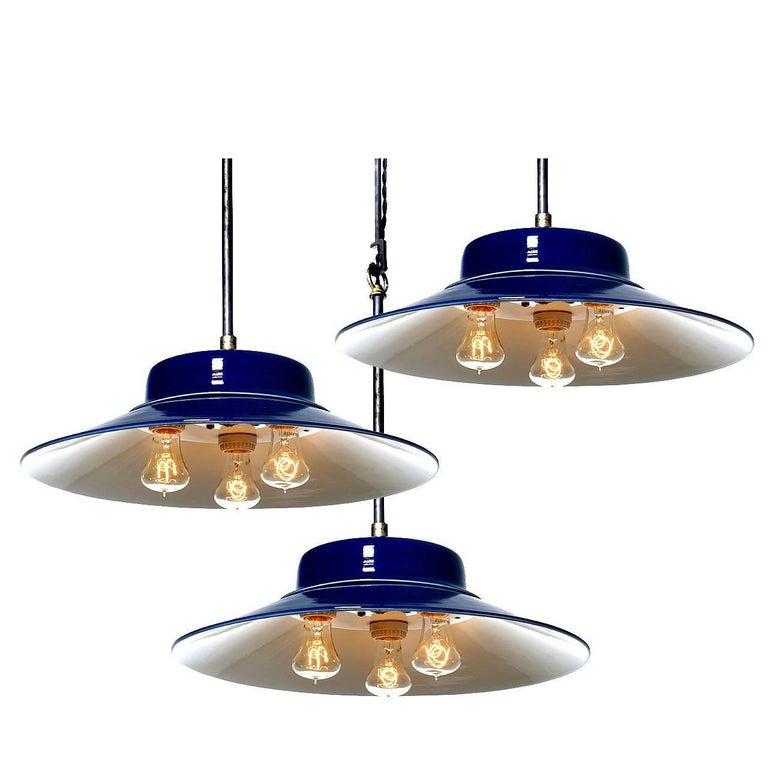 Desirable Cobalt Blue Three-Bulb Benjamin Pendents 1