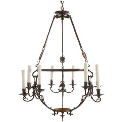 French 19th Century Brass and Iron Chandelier