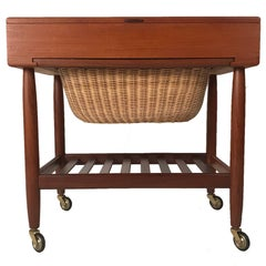 Danish Teak & Rattan Lift Top Sewing Cart/Table with Wheels, Ejvind A. Johansson