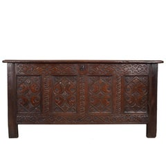 English Late 18th Century Carved Oak Coffer