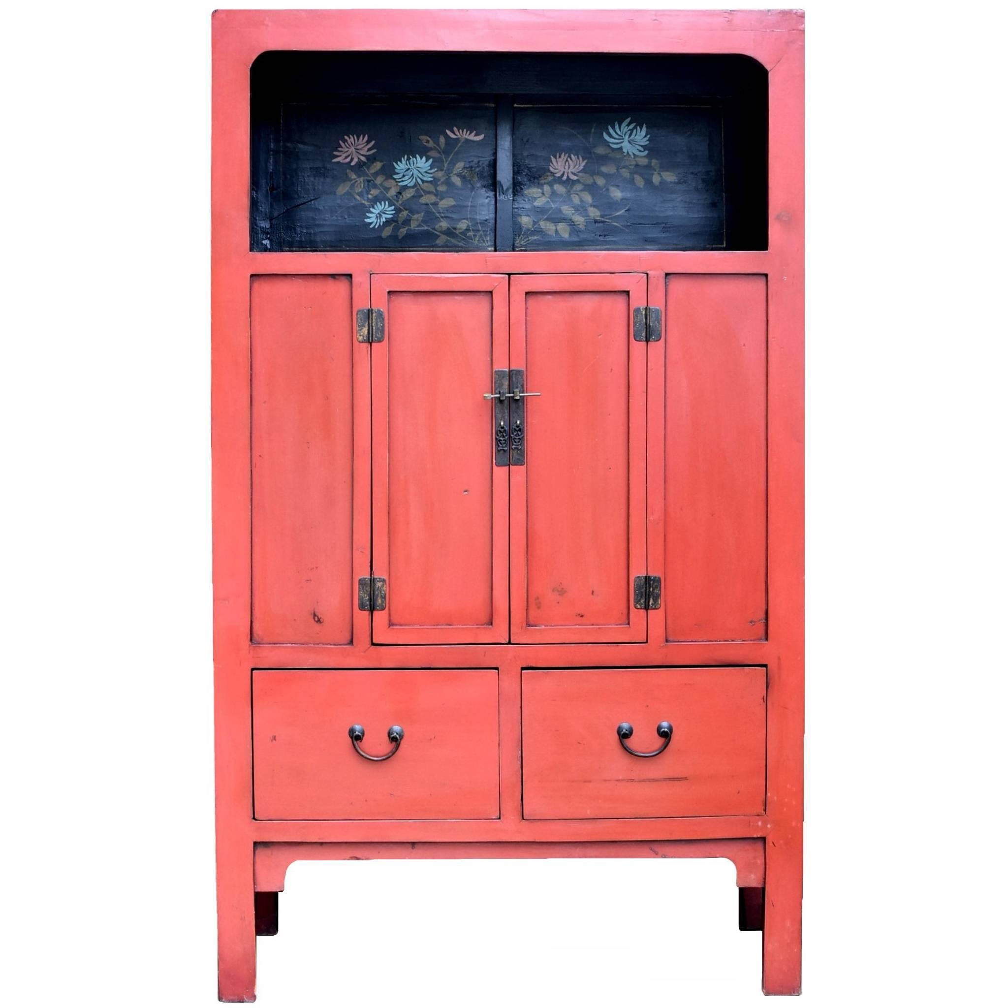Chinese Antique Red Cabinet with Painted Chrysanthemums For Sale ...