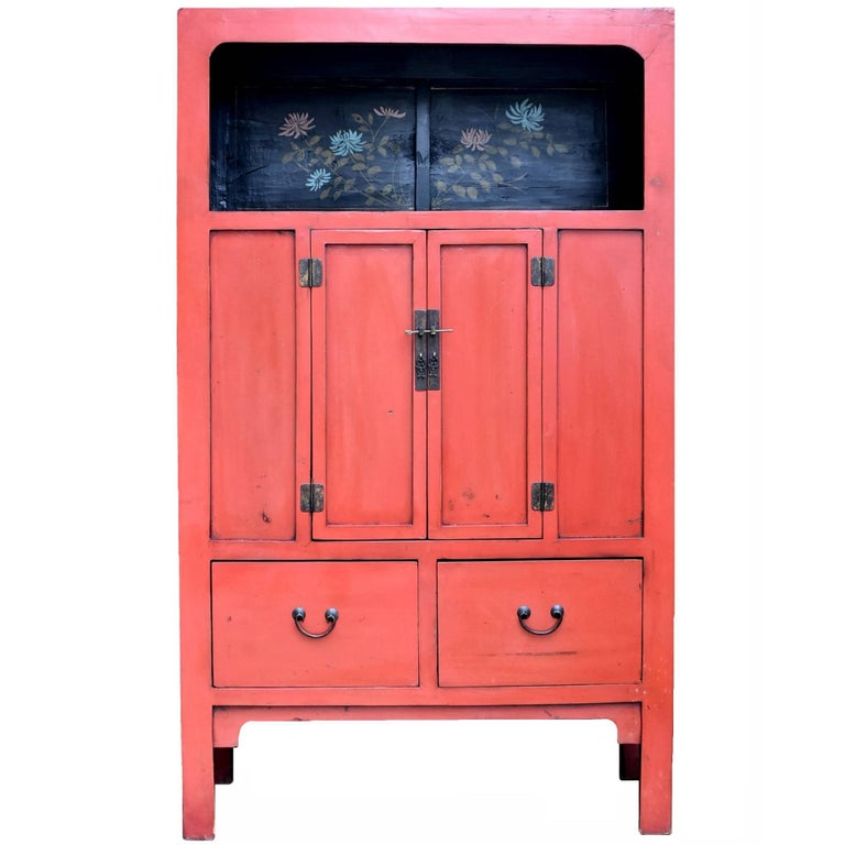 Chinese Antique Red Cabinet with Painted Chrysanthemums