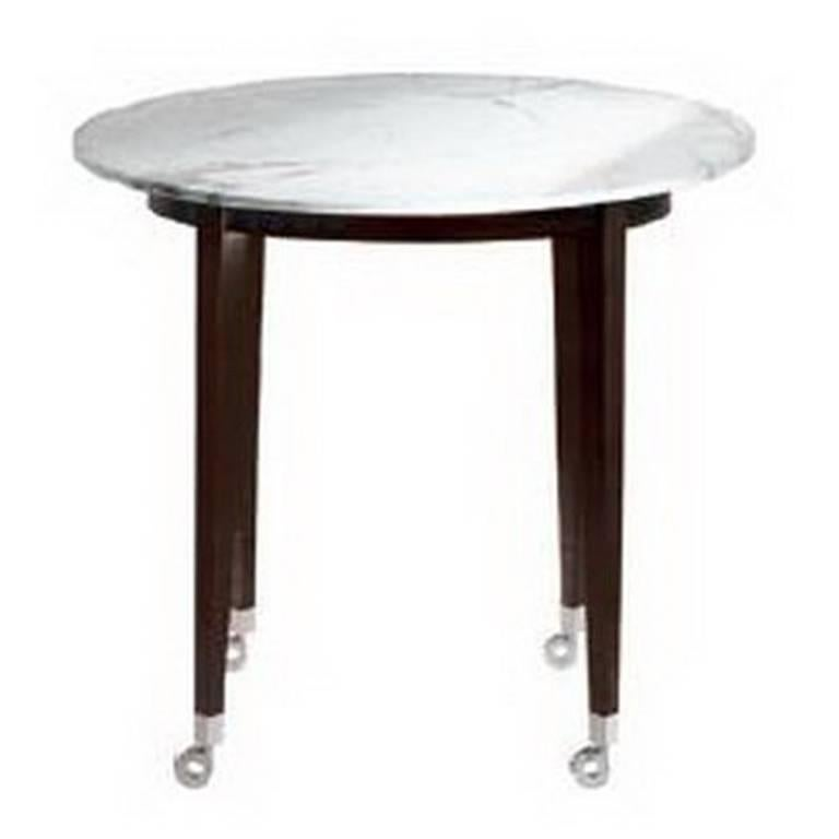 """""""Neoz"""" Carrara Marble Castored High Round Table Designed by P. Starck for Driade"""
