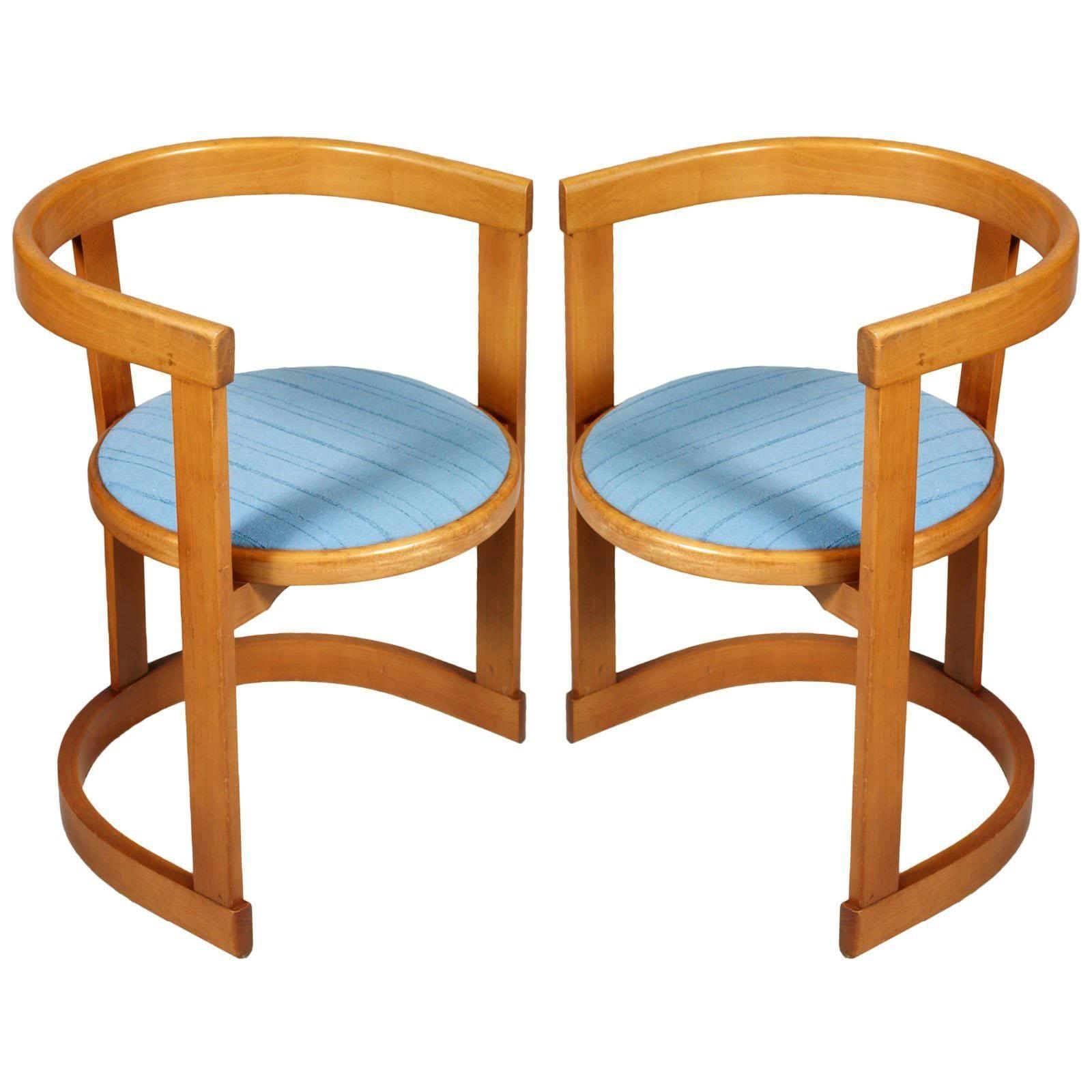 Incroyable Italian Mid Century Modern Pair Frank Lloyd Wright Style Barrel Armchairs