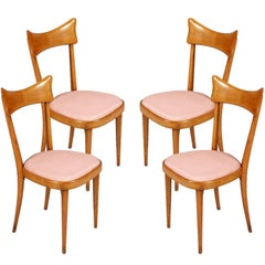 Mid-Century Modern Set of Four Chairs, Ico Parisi Manner in Blond Walnut