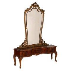 Venetian Baroque Dressing Table Console Mirrored, Hand-Carved Walnut Restored
